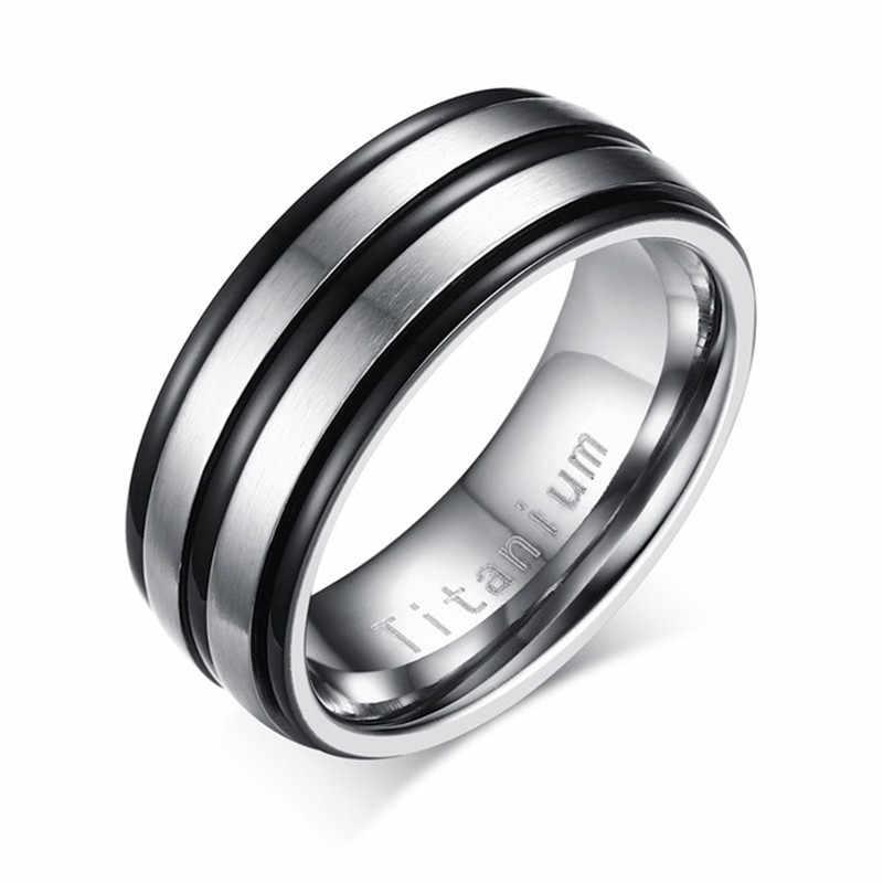 Modyle 2019 nuevo negro anillo de hombre 100% joyas de carburo de titanio para hombres anillos de boda clásico regalo de novio
