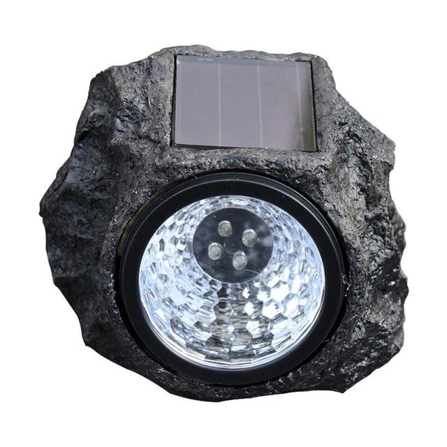Solar Stone Light Resin 4 Leds Ip65 Waterproof Lamp Indoor Outdoor Garden Lawn