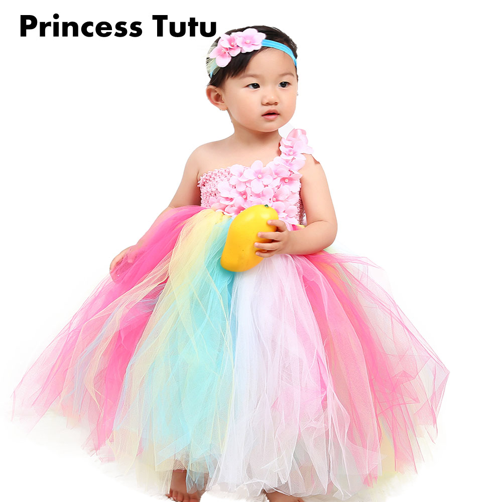 One Shoulder Cheap Flower Girl Rainbow Color Ankle Length Tutu Dress