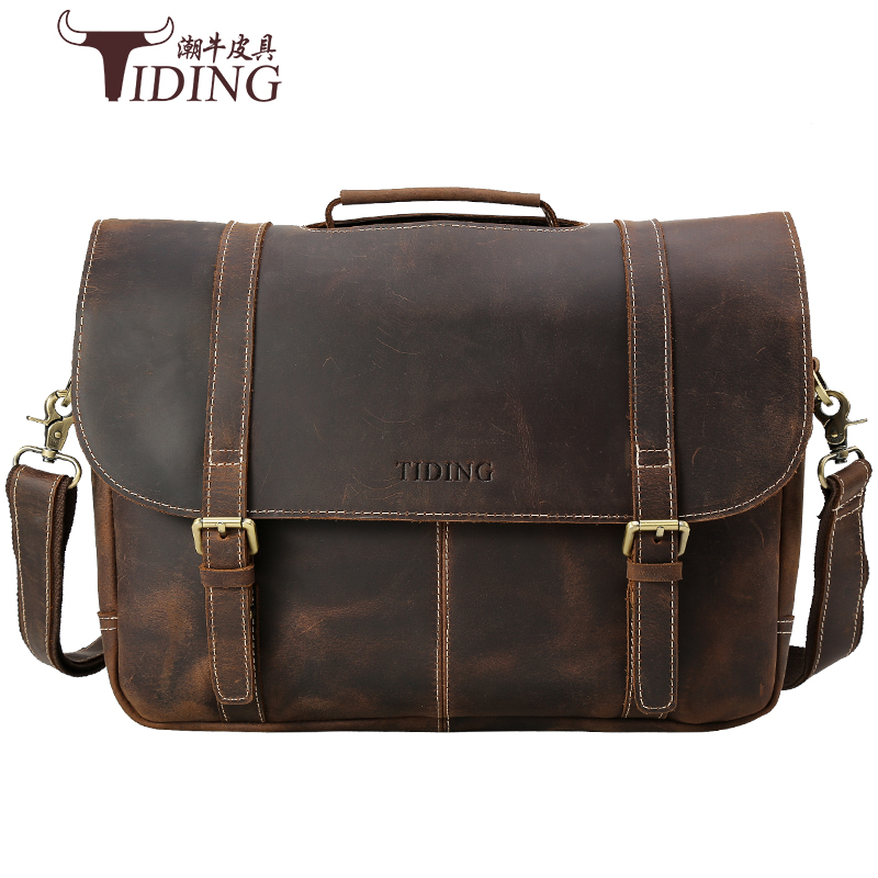 Men Bags Crazy Horse Leather Brand Man Crossbody Shoulder 17 laptop Handbag Vintage large  Male Briefcase Men's Travel Bag men travel bags crazy horse cow skin real leather man bags fashion design men shoulder bags