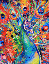 Hand-painted Beautiful Peacock Painting Art Bright Artwork Oil Painting on Canvas in Palette Knife Wall Artwork Equine Pictures