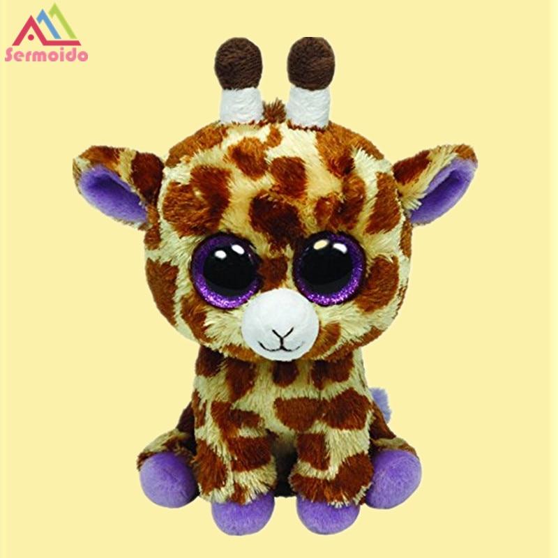 sermoido 6'' TY Beanie Boos - Safari the Giraffe Deer Baby Plush Stuffed Doll Toy Collectible Soft Toys Big Eyes Plush Toys цена