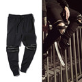 2016 Nuevas bragas de los hombres de Estilo Hombre Slim Fit Cremallera Pantalones Lápiz Pantalones Plisados Negro Hiphop Streetwear Hombres Joggers