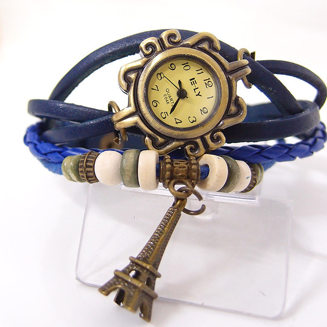 vintage Eiffel Tower tag fashion quartz watch women genuine cow leather beads bracelet wrist watch