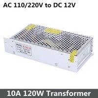 12 V 10A 120 W 110-220 V 5630 5050 3528 LED Şerit Işık için Güç Kaynağı Trafo Yüksek kaliteli Alüminyum Kasa