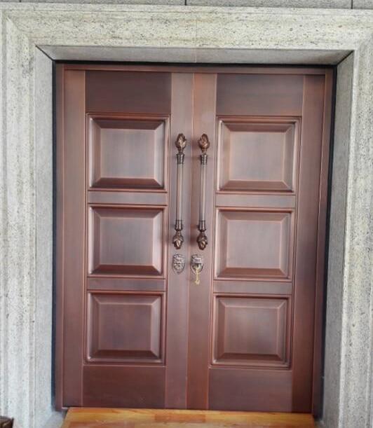 Bronze Door Security Copper Entry Doors Antique Copper Retro Door Double Gate Entry Doors H-c24