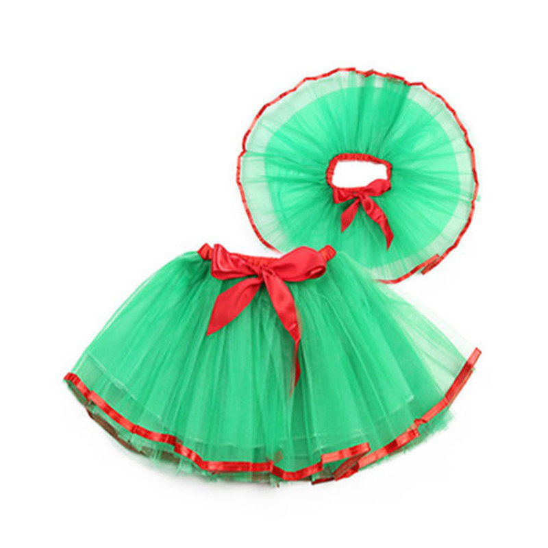 Pudcoco 1PCS Newborn Baby Girls Christmas Tutu Skirt Xmas Fancy Party Green Onesize For 3-8T Girls Skirts