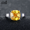 Effie Queen Hot Sale Yellow Austrian Cubic Zircon Ring for Party Platinum Plated Women Wedding Engagement  Ring DR55