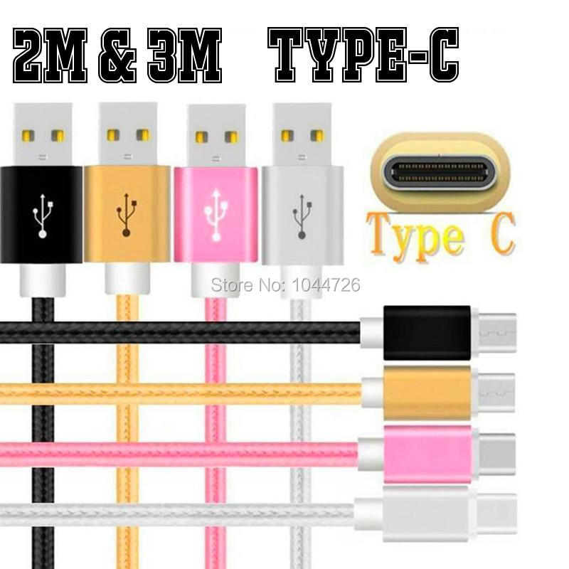 imágenes para 100 unids/lote 3 M el 10FT Trenzado Tela de Nylon Tipo C cable Usb Accesorios paquetes para samsung nota 7 Lg Htc xiaomi letv 4c G5