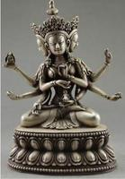 rare Collectible Decorated Handwork Tibet Silver Carve Buddha 3 Head 6 Arm Sta