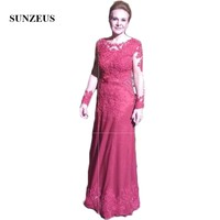 Long Sleeve Sheath Formal Dresses for Women Scoop Dark Red Mother of the Bride Dresses Appliques with Sequins SMD52