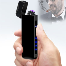 Fingerprint Electronic Cigarette Lighter USB Windproof Double Arc Electric Plasma Turbo Metal Fathers Day Gift