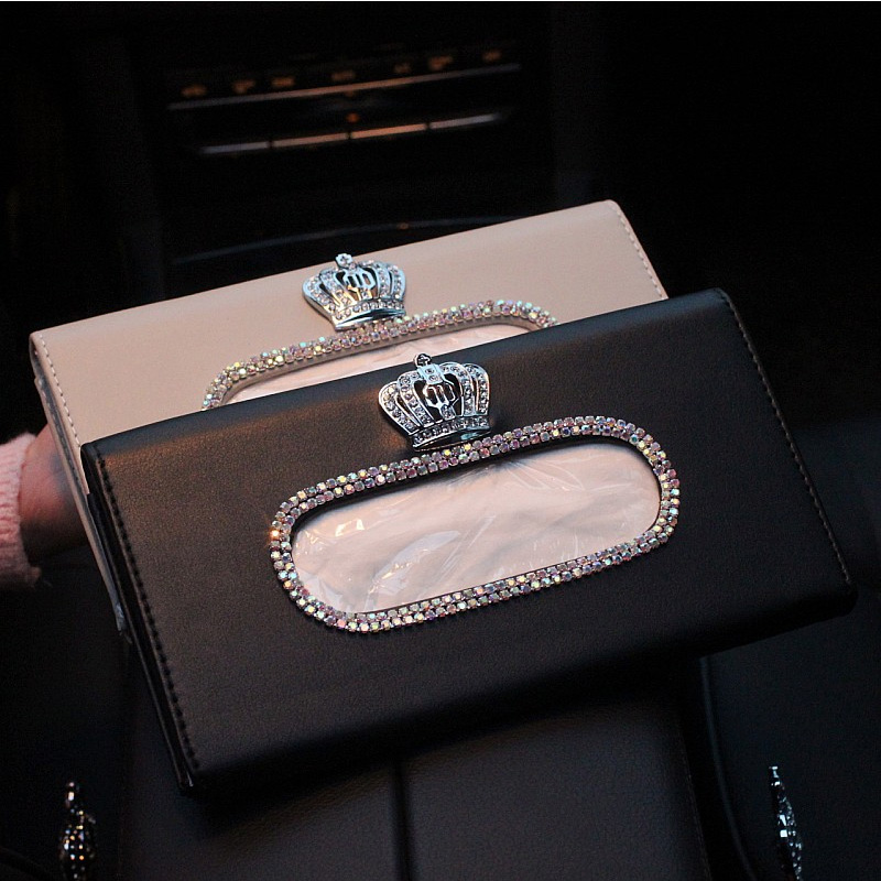 Fashion Crown Crystal Car Tissue Box Sun Visor Leather Auto Tissue Bag Sunvisor Hanging Holder Case Napkin For Car Accessories|napkin case|napkin holder for car|napkin holder - title=