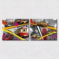 Canvas Print Designs art travel place Mosaic pictures of London with city view Double decker bus and a bridge 2pcs set
