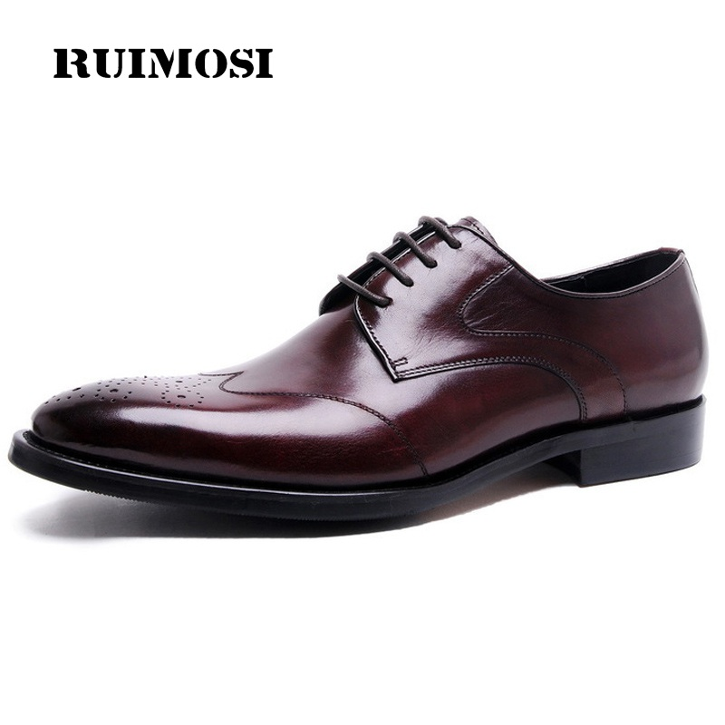 RUIMOSI Luxury Brand Platform Man Formal Dress Shoes Vintage Genuine Leather Brogue Oxfords Round Toe Men's Wing Tip Flats AD71