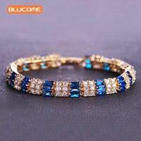 Blucome Luxury Blue Cubic Zircon Rhinestone Bracelet For Women Bangle Jewelry Copper Golden Charm Pulseira Feminina