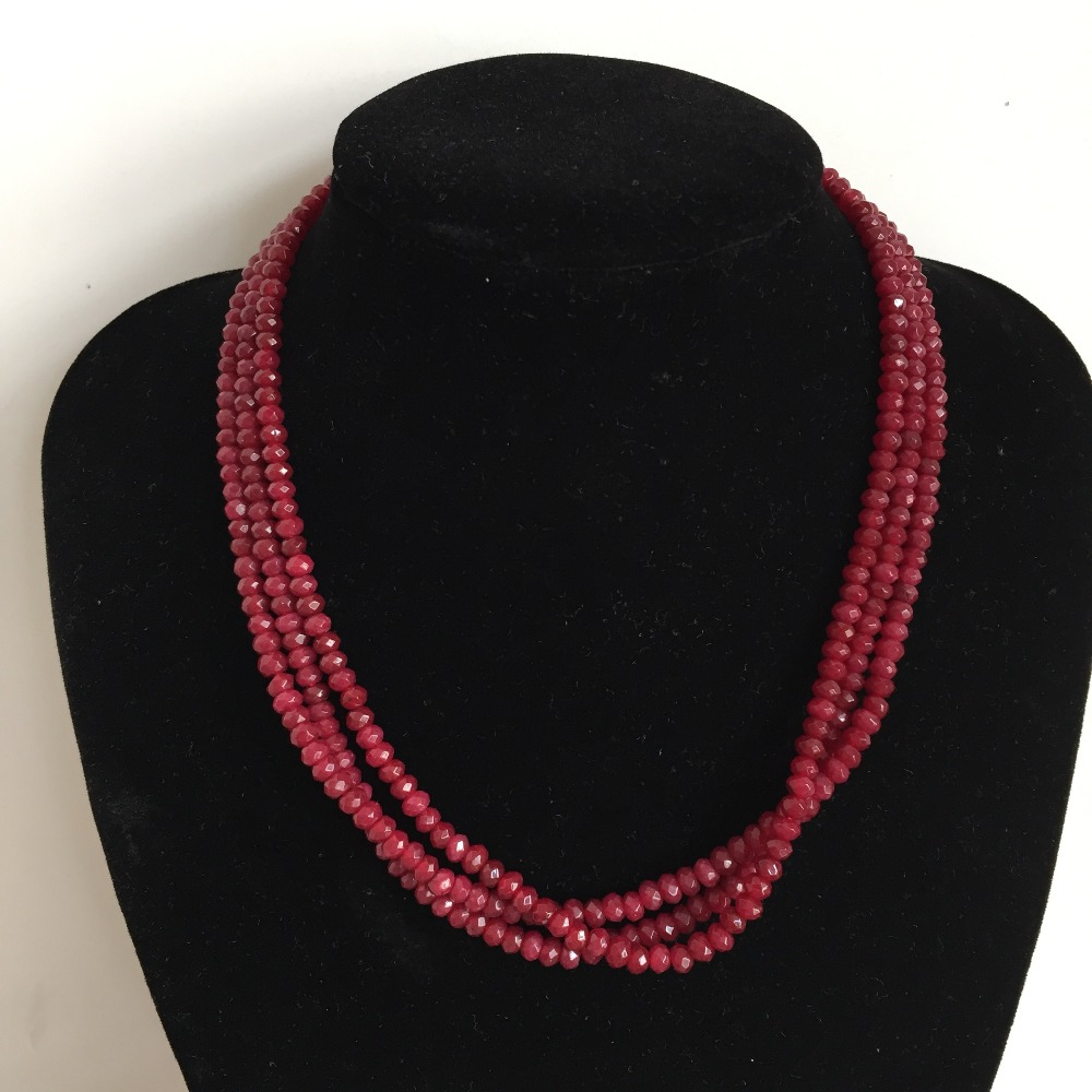 """Handmade Faceted 2x4mm rose ruby Gemstone necklace 18/"""" Silver clasp"""