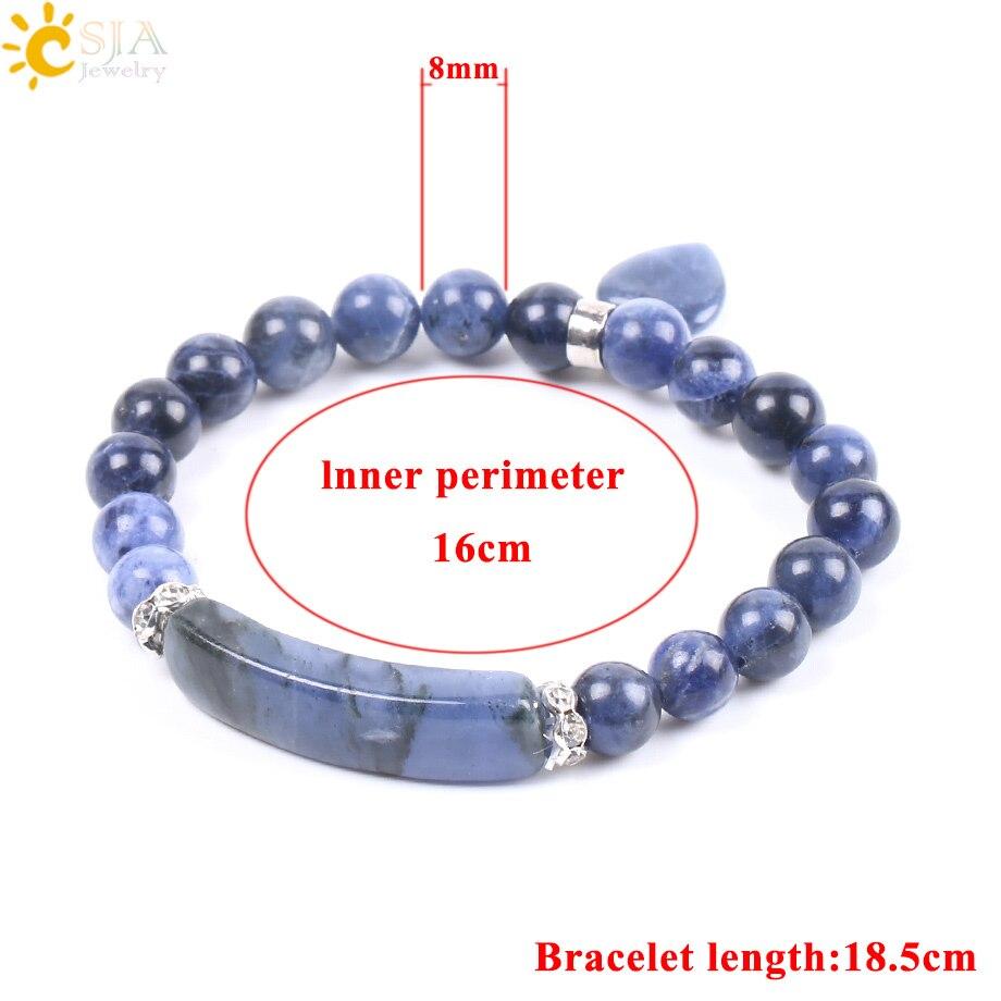 CSJA Natural Stone Sodalite Bracelets for Women Men Love Heart Blue White Dot Beads Stretch Healing Buddhist Prayer Bangles F109
