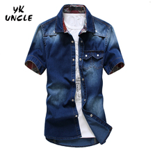 Plus Size 2016 Brand Men Jeans Shirt Cotton Short Sleeve Shirts Cowboy Camisas Mens s Patchwork Chemise Homme,YK UNCLE