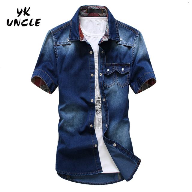 Plus Size 2016 Marca calças de Brim Dos Homens Camisa de Algodão de Manga Curta Camisas Camisas de Vaqueiro dos homens s Patchwork Chemise Homme, YK TIO