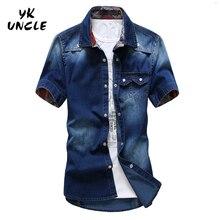 Plus Size 2016 Uomini di Marca Jeans Camicia di Cotone Manica Corta Camicie Cowboy uomo Camisas s Patchwork Chemise Homme, YK ZIO