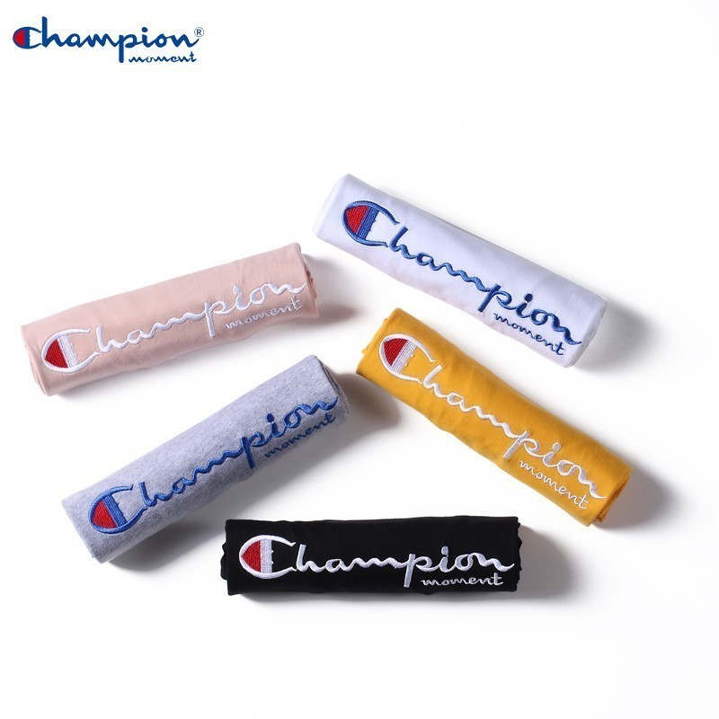 Champion moment Brand Summer Couple   t     Shirt   100% Loose Fashion Short Sleeve Embroidered   t  -  Shirt   Solid Color   T  -  Shirt   Hot   t  -  Shirt