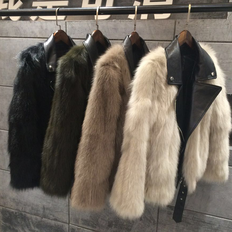 Streetwear donne di stile reale della pelliccia di fox del rivestimento di cuoio del motociclo di modo di pelliccia vestito per le ragazze