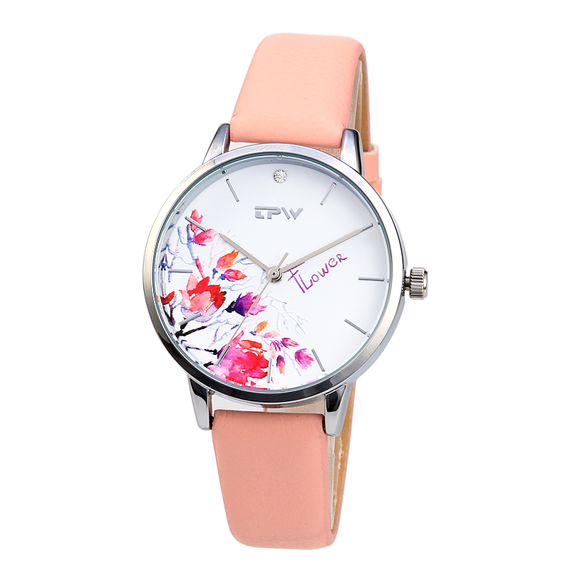 High Quality Fashion Leather Strap Rose Gold Women Watch Cas