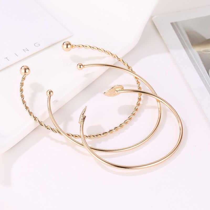 Women Bracelets Stainless Steel Screw Hand Leaf Wedding Wristband Cuff Bracelet Open Bangle Jewelry Wristlet