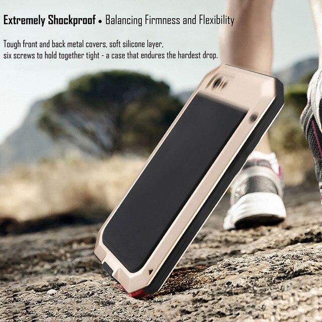 Armure métallique Extérieure En Aluminium Antichoc étui pour iphone X 7 6 6 s Plus 5 5 s SE Imperméable coques de téléphone + Film Ecran