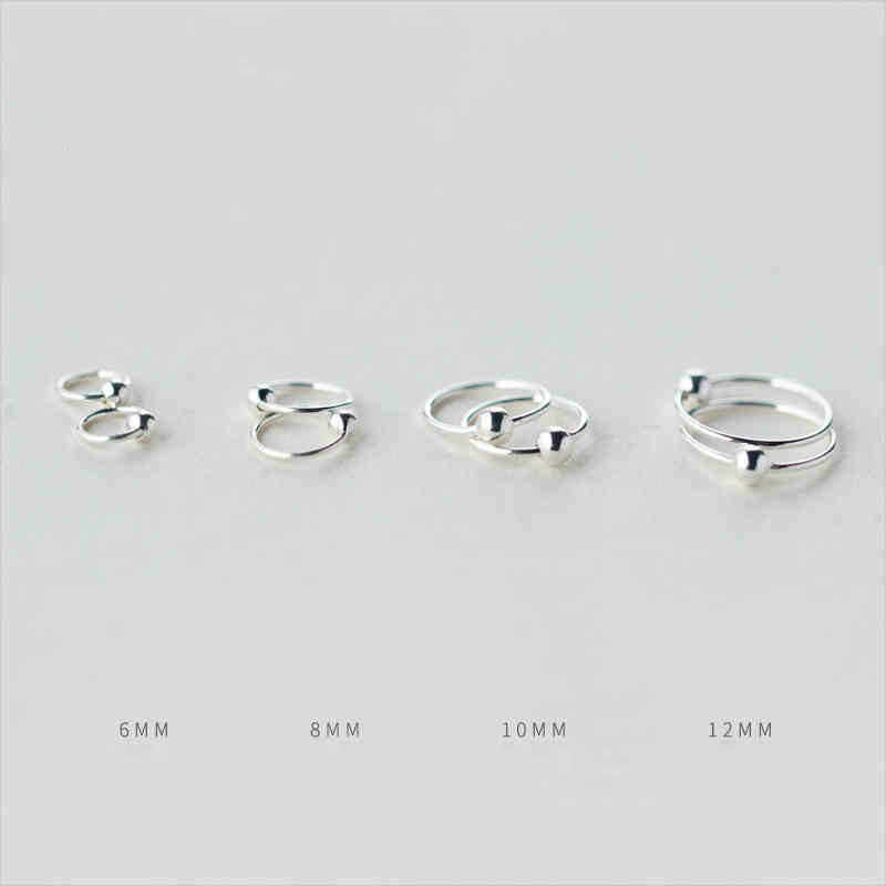 2pcs 925 Sterling SliverSmall Tiny Ball Huggie Hoop Earrings 6mm 8mm 10mm 12mm Ear Piercing Tragus Helix Cartilage