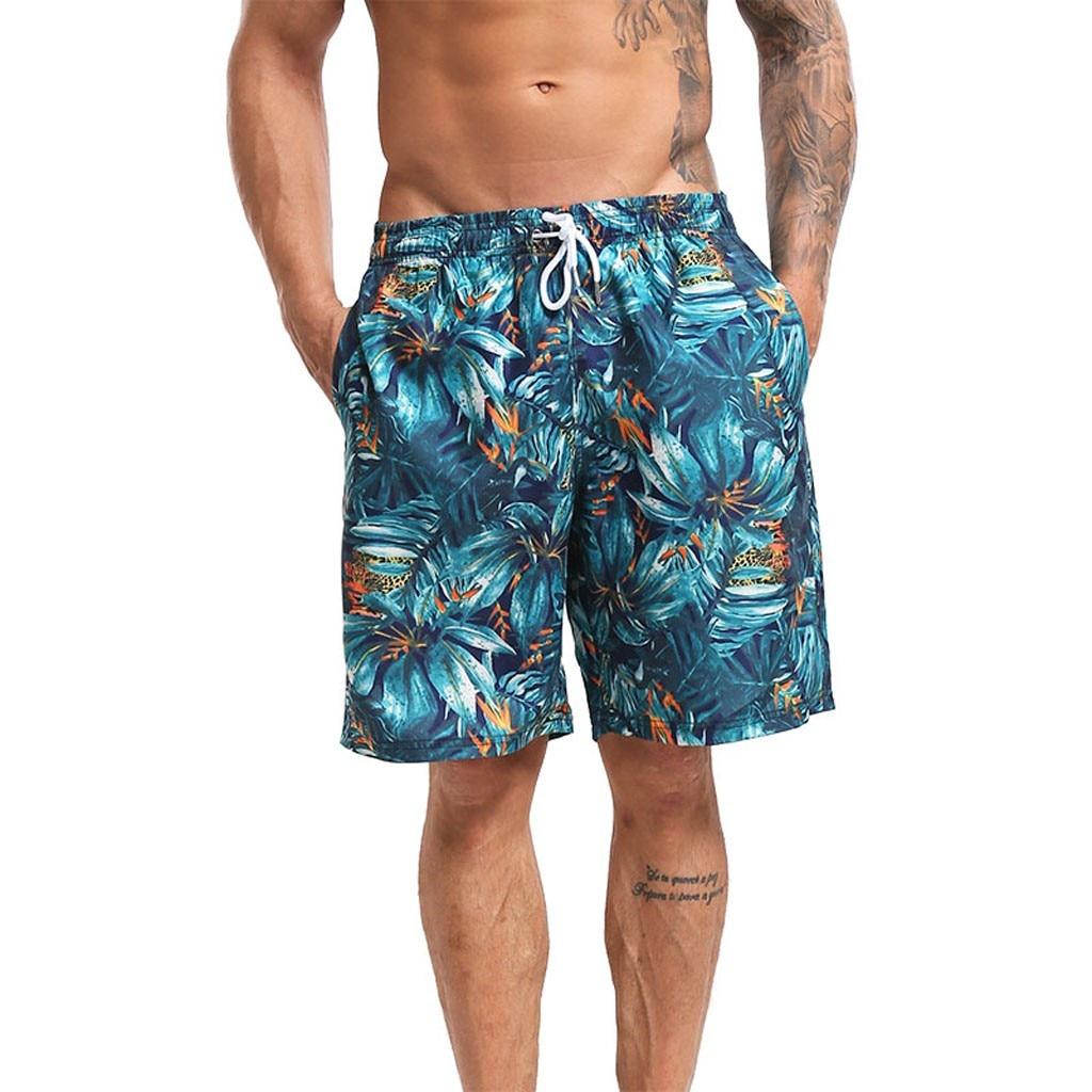 CHAMSGEND   Shorts   Men Beach   Shorts   Elastic Waist Trunks   Board   Pants Summer Drawstring Trunks Quick Dry Printing   Shorts   20.JAN.13