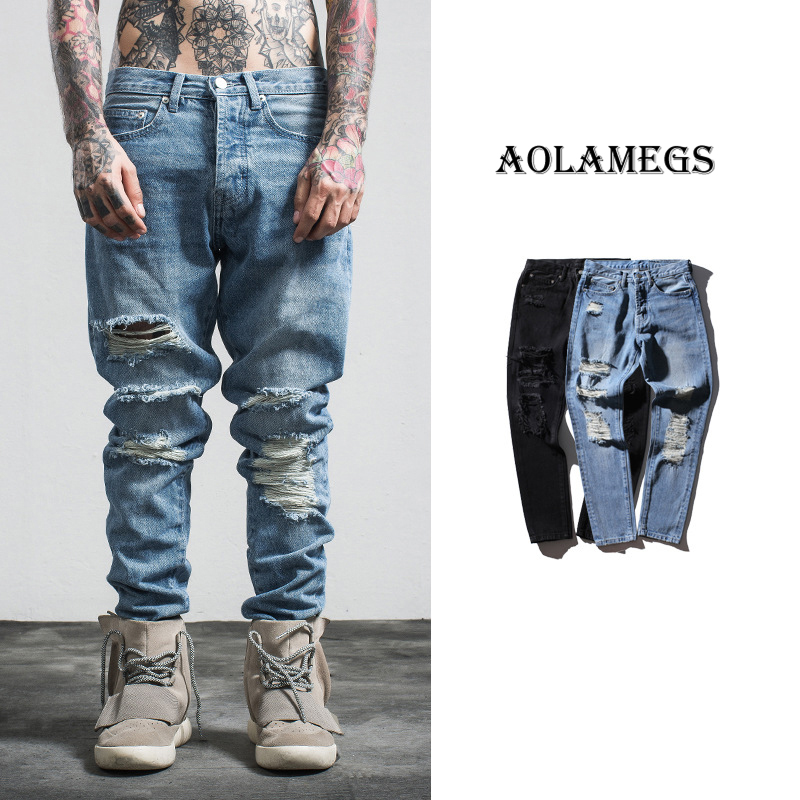 Aolamegs Men Denim Pants Boys GD Korean Washed Ripped Jeans Pants Homme Fashion Men Begger Trousers High Street Casual Bottoms