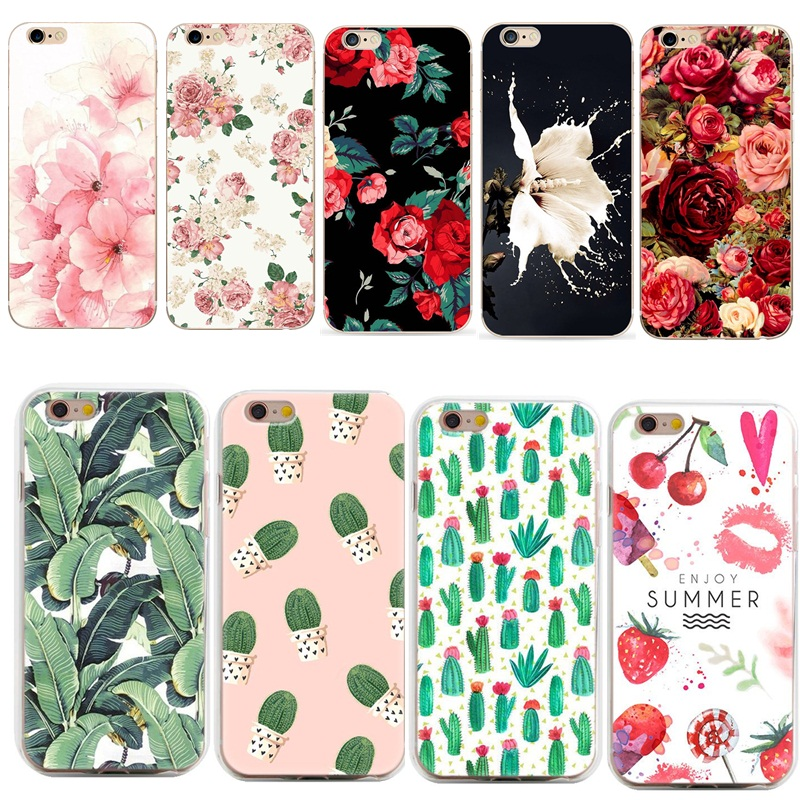 Phone Case Capa For Coque iphone 7 Cactus Cover Flower Rose Plant Leaves Silicone Shell Funda For iphone 7 plus 8 6 6s 5s se 5