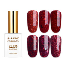 RS Nail 15ml uv color gel nail polish red glitter series sparkles lacquer a set of varnish resin sequins esmalte