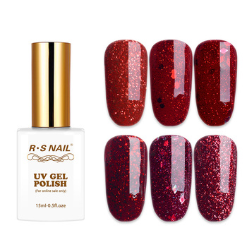RS Nail 15ml uv color gel nail polish red glitter series sparkles gel lacquer a set of gel varnish uv resin sequins esmalte clever lady wholesale 110 colors uv led gel nail polish set gel lacquer esmalte permanente a set of gel varnishes