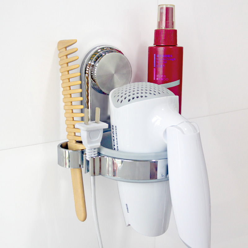 Plastic Wall Hair Dryer Holders Storage Racks Strong Suction Cup Not  Drilling Hairdryer Shelf Bathroom Wall Storage Organization