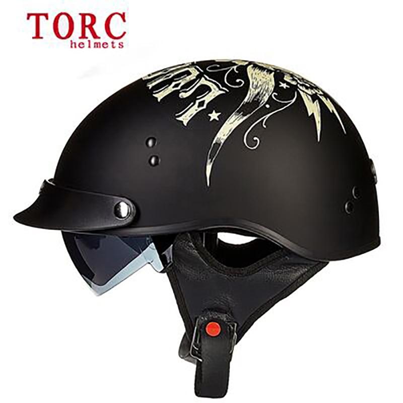 TORC Motorcycle Vintage Helmet Half face Retro Casco Casque Sunshine Moto helmets chopper bikes Scooter Headgear T55 For Harley