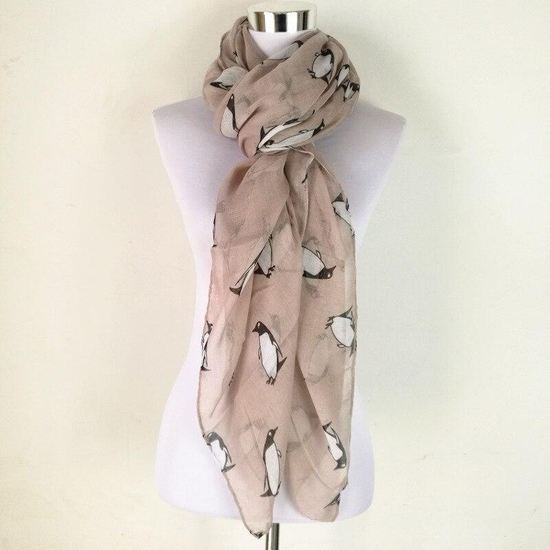 இ2015 moda mujer señora pingüino impresión larga bufanda voile ...