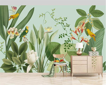 beibehang Custom  Mural 3D Wallpaper Southeast Asia Tropical Rainforest Banana Leaf Birds and flowers Background Wall Wallpaper beibehang southeast asia tropical rainforest leaves background wallpaper living room bedroom tv background mural 3d wallpaper