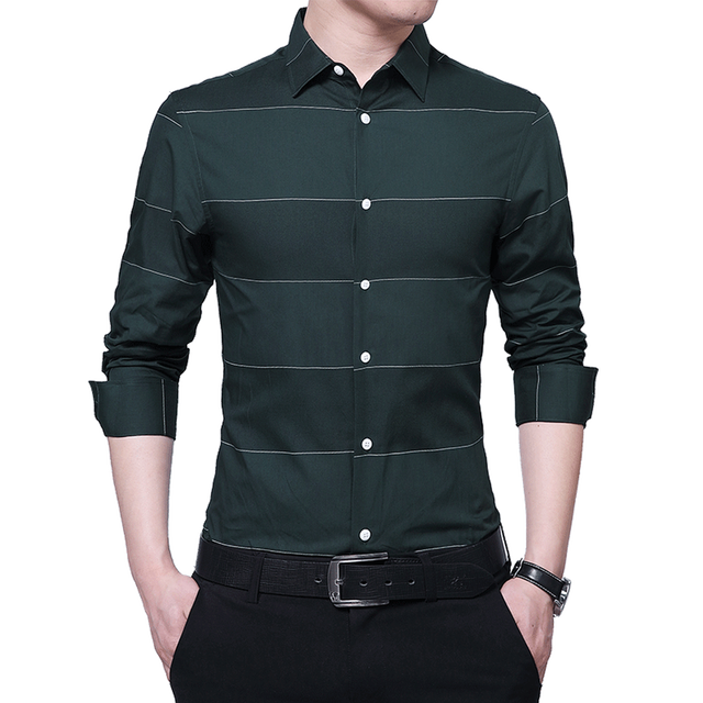 f83209ad416 Fashion Men's Shirts male Casual slim fit designer Long Sleeve striped  Business Office Formal Shirts male green black white blue-in Casual Shirts  from ...