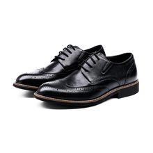 2016 Autumn Genuine Leather Cowhide Bullock Men's Shoes Luxury Brand Business Casual Shoes Black Brown Pointed Toe Flat Shoes 2A