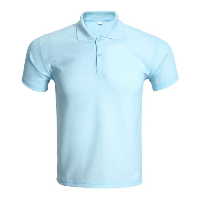 df52e2611a4f4 New Sky Blue Polo Shirt Men Polo Homme 2016 Mens Fashion Solid Color Short  Sleeve Polo