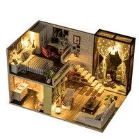 Funny Doll House 3D Wooden Furniture Cottage Simple Urban Handmade Villa Model View Assembled Model Villa For Children DIY Gifts