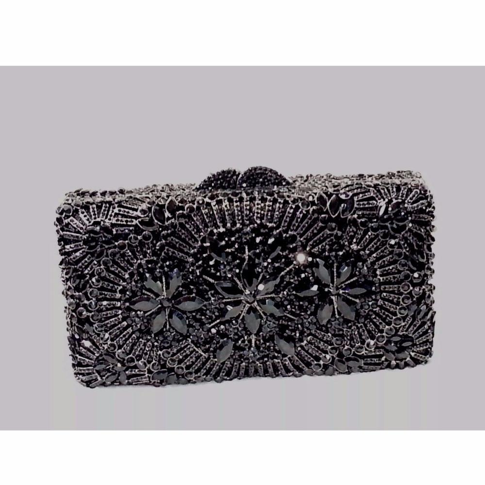 ФОТО 8338BK Black Crystal Flower Floral Fashion Wedding Bridal hollow Metal Evening purse clutch bag case box handbag