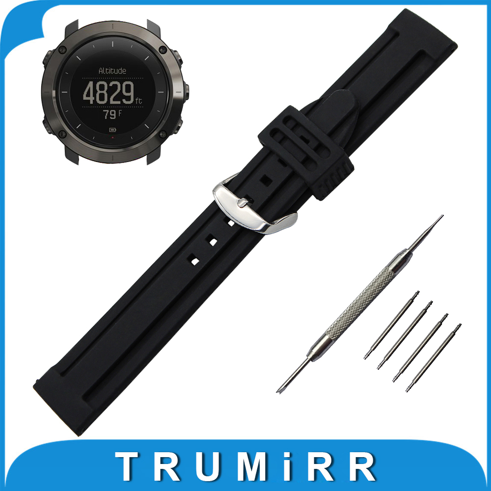 24mm Silicone Rubber Watch Band + Tool for Suunto TRAVERSE Stainless Steel Buckle Strap Replacement Belt Wrist Bracelet Black люстра на штанге citilux болеро cl118141