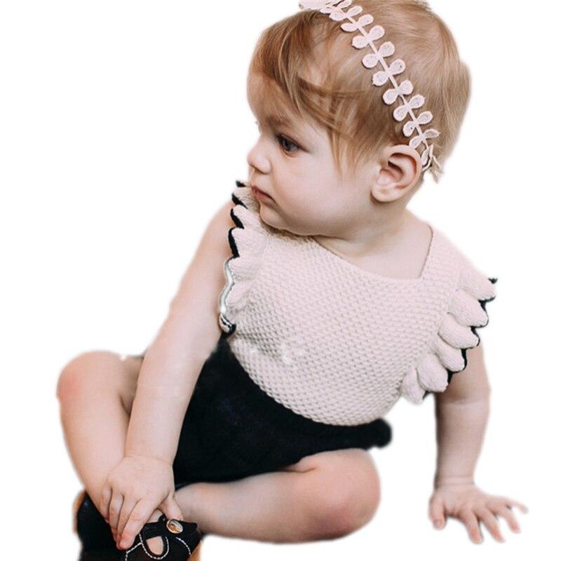 Pelele de bebé recién nacido 2018 nuevos Pelele de punto con volantes y moño moda niños princesa bebé monos de cumpleaños