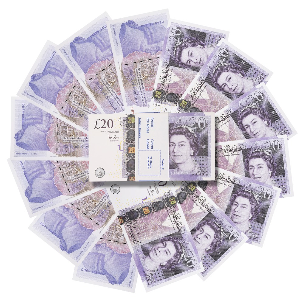 Prop Money Realistic Uk Pounds Gbp British English Bank 100 20 Notes Perfect For Movies Films
