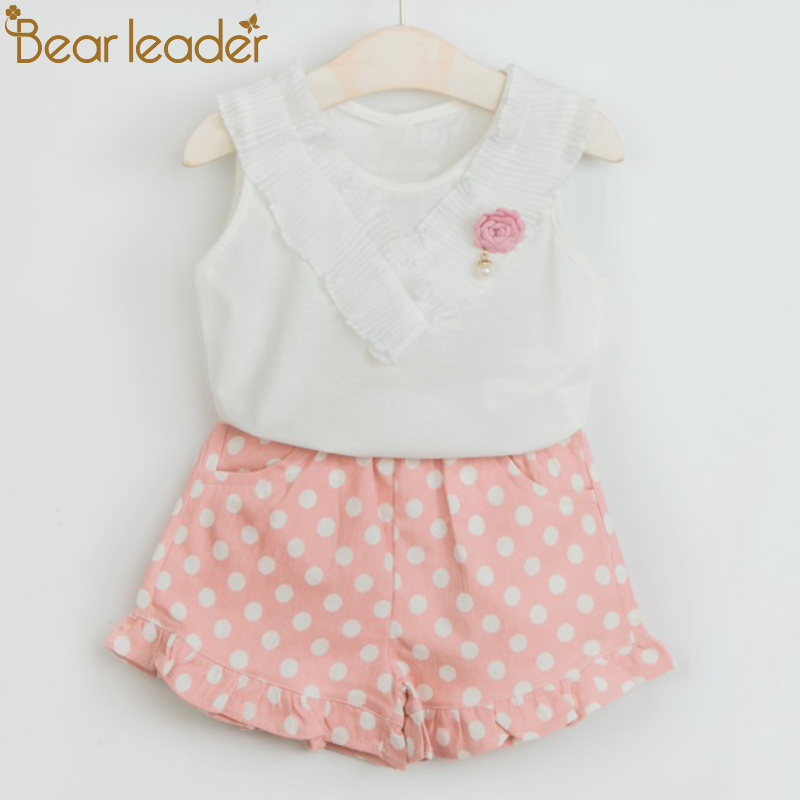 Bear Leader Girls Clothing Sets 2018 New Brand Summer Kids Clothes Solid Color Lace Clothes+Dot Short Pants 2Pcs For 2-6 Years bear leader girls clothes 2016 fashion summer style boy clothing sets hello kitty short sleeve shorts 2pcs for kids clothes 3 7y