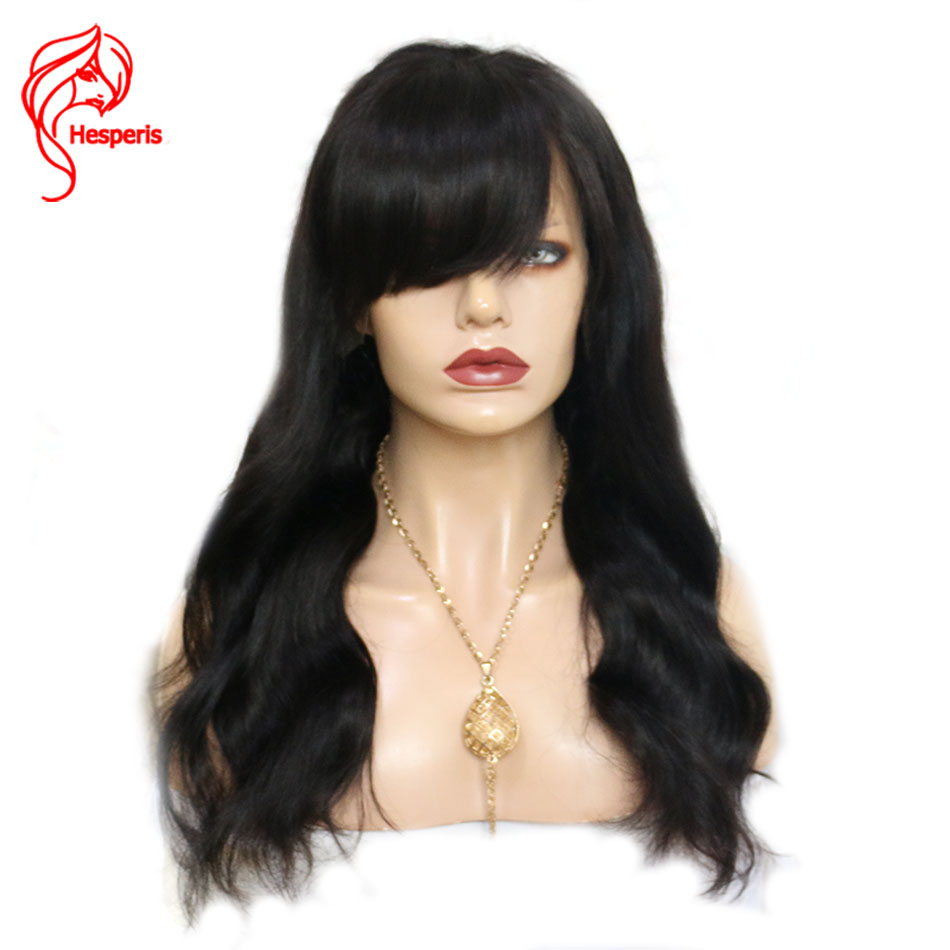 Hesperis Brazilian Remy Full Lace Human Hair Wigs With Bangs Glueless Full Lace Wigs Pre-Plucked Body Wave Full Lace Wigs